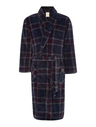 Linea Check Print Fleece Robes Navy