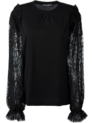 Dolce And Gabbana Lace Long Sleeved Top Black