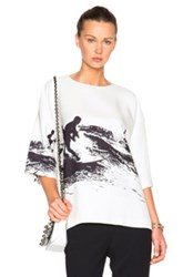 Victoria Beckham Oversized Tee In White Abstract