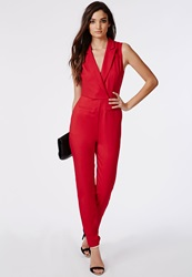 Missguided Sheer Back Tuxedo Style Romper Red