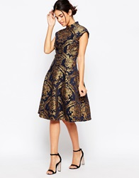 Chi Chi London High Neck Structured Skater Dress In Baroque Print Navygold