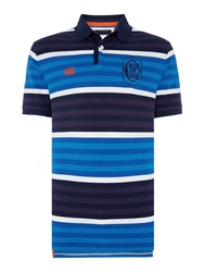 Canterbury Of New Zealand Yarn Dyed Stripe Pique Polo Navy