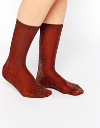 Monki Lurex Socks Copper