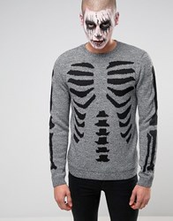 Asos Halloween Jumper With Skeleton Body Grey