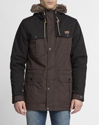 Iriedaily Brown And Black Contrast Detachable Fur Eissegler Parka