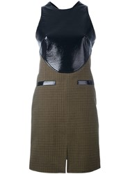 Courreges Contrast Panel Tweed Dress Black