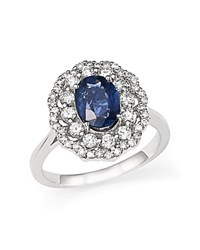 Bloomingdale's Diamond Halo And Sapphire Ring In 14K White Gold Blue White
