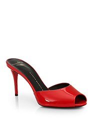 Giuseppe Zanotti Patent Leather Mid Heel Mules Red