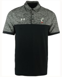 Under Armour Men's Cincinnati Bearcats Podium Polo Shirt Black Heather
