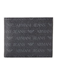 Armani Jeans All Over Logo Pu Bifold Wallet Black