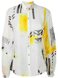 Lala Berlin 'Collage Light' Semi Sheer Button Down Shirt White