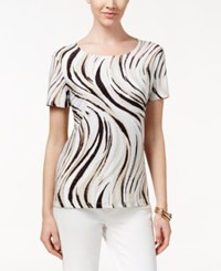 Jm Collection Textured Tee Wave Print Sand