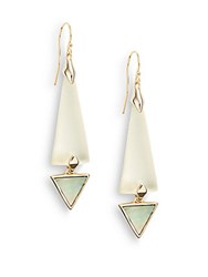 Alexis Bittar Lucite And Mother Of Pearl Geometric Drop Earrings Ivory