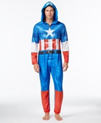Briefly Stated Men's Captain America Hooded Jumpsuit Pajamas Blue