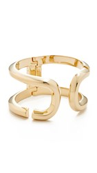 Marc Jacobs Icon Open Hinge Cuff Bracelet Gold