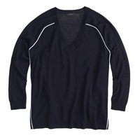 J.Crew Merino Wool Tipped Side Panel V Neck Sweater Navy Poolside