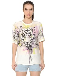 Roberto Cavalli Tiger Printed Silk Satin Top