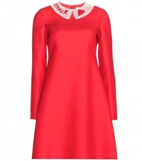 Valentino Wool And Silk Blend Crepe Dress Red