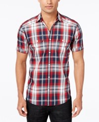 Inc International Concepts Mushburger Plaid Short Sleeve Shirt Only At Macy's Navy