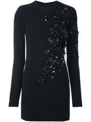 Dsquared2 Floral Sequin Fitted Dress Black