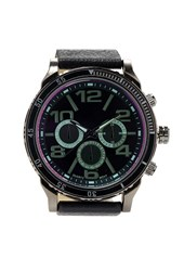 Forever 21 Faux Leather Chronograph Watch Black