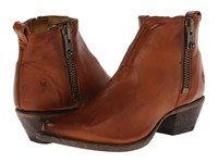 Frye Sacha Moto Shortie Cognac Smooth Vintage Leather Women's Pull On Boots Brown