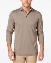 Tasso Elba Men's Performance Uv Protection Long Sleeve Polo Acorn Combo