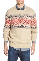 Men's Vineyard Vines 'Rag' Fair Isle Crewneck Sweater With Suede Elbow Patches