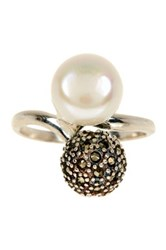 Sterling Silver Marcasite And 10Mm Freshwater Pearl Bypass Ring White