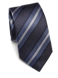 Saks Fifth Avenue Striped Silk Tie Burgundy Green Blue