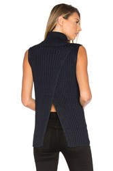 525 America Sleeveless Turtleneck Sweater Navy