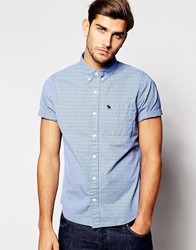 Abercrombie And Fitch Blue Solid Poplin Short Sleeve Shirt