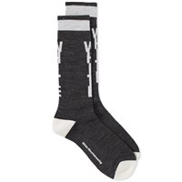 White Mountaineering Logo Middle Sock Black