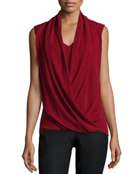 Natori Sleeveless Faux Wrap Top Vermillion