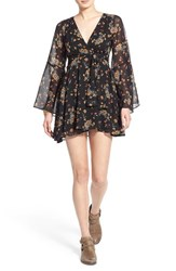 Women's Free People 'Lilou' Floral Print Minidress Retro Black Combo