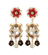 Dolce And Gabbana Exclusive To Mytheresa.Com Embellished Clip On Earrings Gold