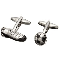 John Lewis Football Cufflinks Black Silver