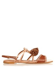 Malone Souliers Ruth Tassel Leather Flat Sandals Tan Multi