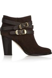 Jimmy Choo Melba Buckled Suede Ankle Boots Dark Brown