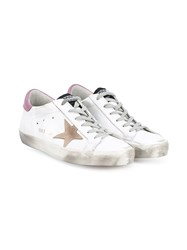 Golden Goose Super Star Leather Low Top Sneakers White Multi Coloured Pink Brown Beige Golden