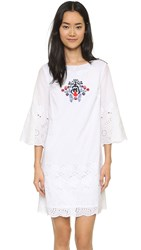 Suno Eyelet Mini Dress White
