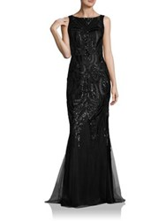 David Meister Solid Sequin Gown Black