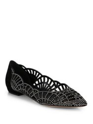 Giorgio Armani Crystal Covered Suede Point Toe Ballet Flats Black