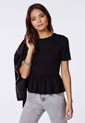 Missguided Peplum T Shirt Black