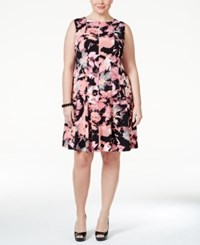 Connected Plus Size Sleeveless Floral Print Fit And Flare Dress Pastel Orange