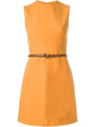 Valentino Belted Mini Dress Yellow And Orange