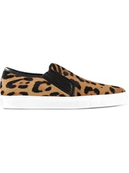 Balmain Leopard Slip On Sneakers Nude And Neutrals