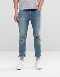 Asos Skinny Cropped Jeans With Extreme Rips In Light Blue Light Blue
