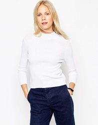 Asos Baby Rib Jumper With Turtle Neck In Structured Knit White