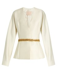 Brock Collection Jacqui Wool And Silk Blend Jacket Ivory